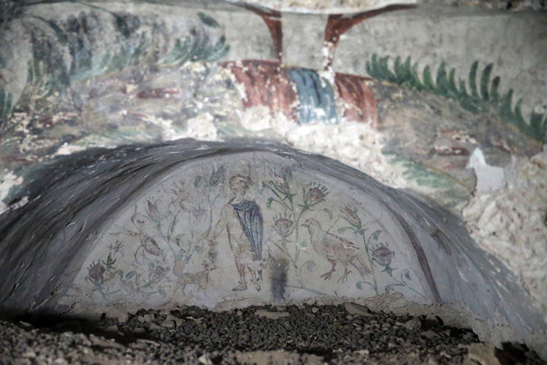 Motifs of a room inside a rock tomb in the ancient city ofBlaundus, Uşak, western Turkey, Sept. 29, 2021. (AA Photo)