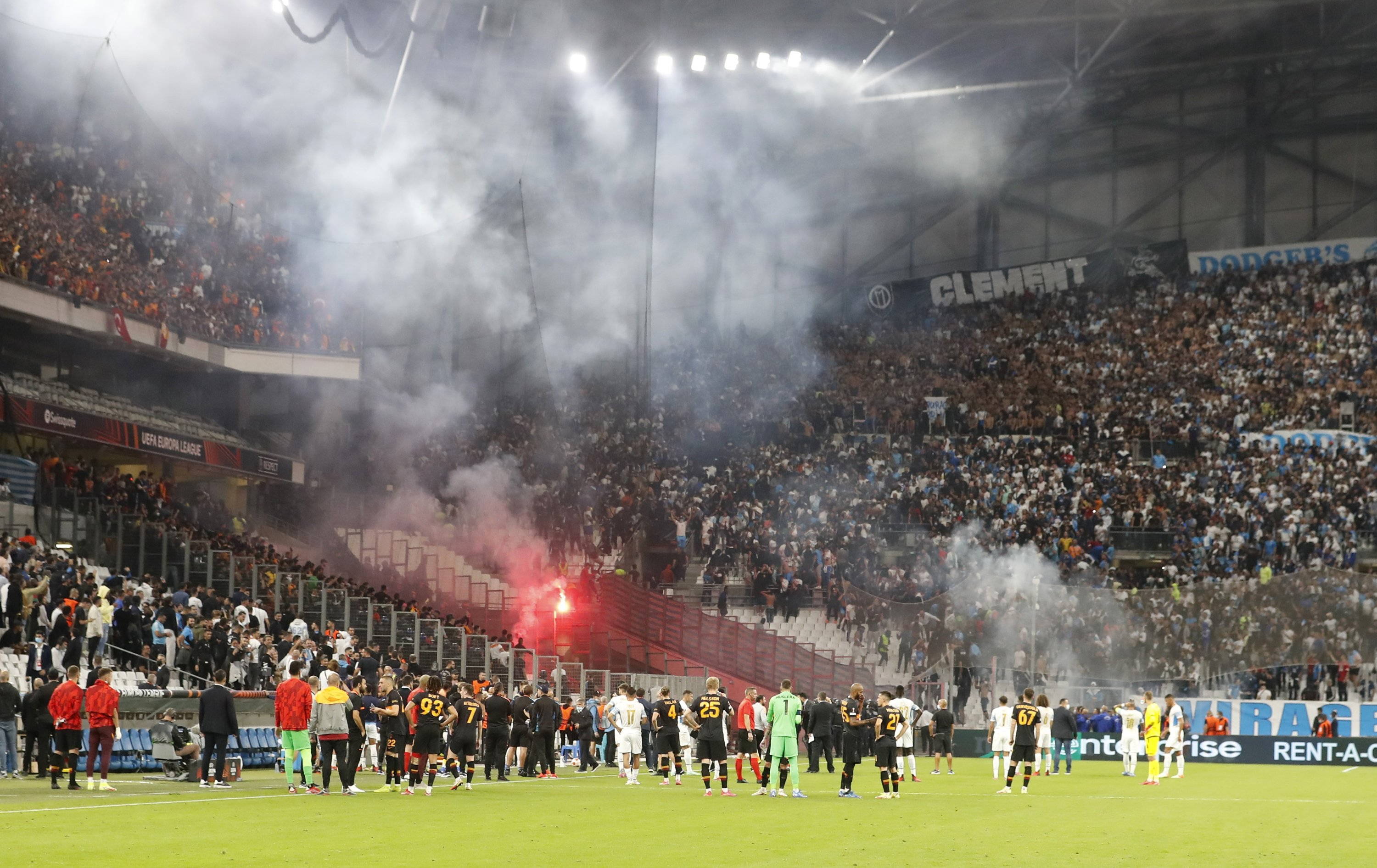 The match is stopped as French police clash with fans during the UEFA Europa League Group E match between Olympique de Marseille and Galatasaray at Orange Velodrome Stadium, Marseille, France on Sept. 30, 2021 (Reuters Photo)