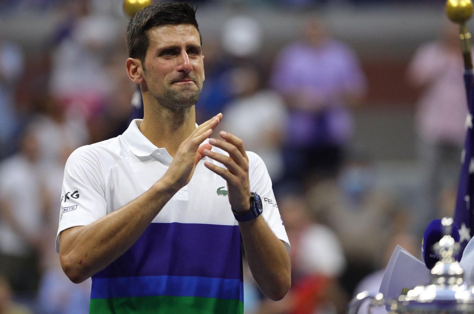 Serbia's Novak Djokovic reacts after the 2021 U.S. Open tennis final in New York, U.S., Sept. 12, 2021. (AFP Photo)