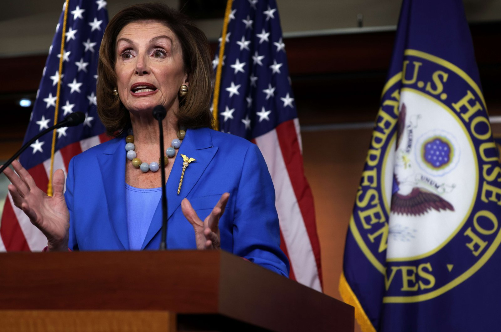 U.S. Speaker of the House Rep. Nancy Pelosi (D-CA) speaks at a weekly news conference at the U.S. Capitol, Washington, D.C., U.S., Sept. 30, 2021. (AFP Photo)