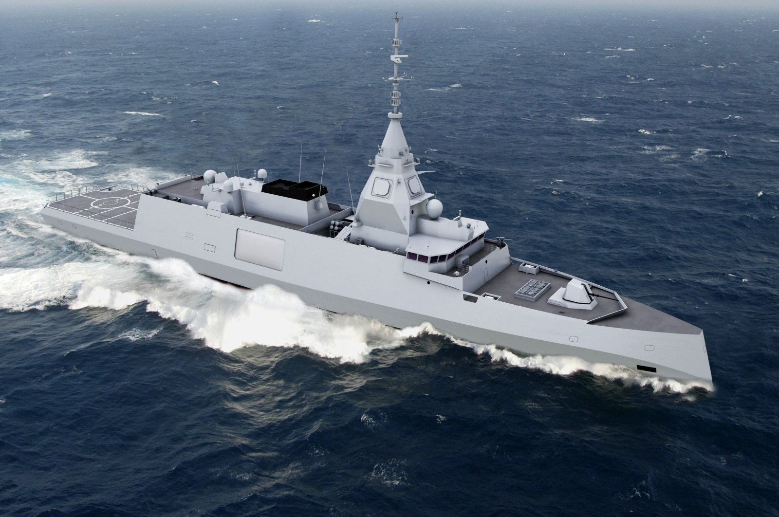 This handout image received from French Naval defense and energy group DCNS on Oct. 18, 2016, shows an artists impression of a proposed new-generation 4000-ton digital frigate called the Belharra. (AFP Photo)