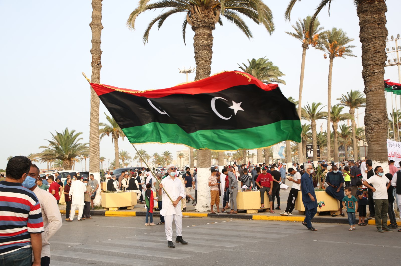 Hundreds of demonstrators protest against Parliament's vote of no-confidence in Tripoli, Libya, Sept. 24, 2021. (AA Photo)