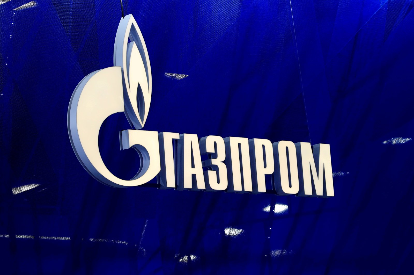 The logo of Gazprom company is seen at the St. Petersburg International Economic Forum (SPIEF) in Saint Petersburg, Russia, June 2, 2021. (Reuters Photo)