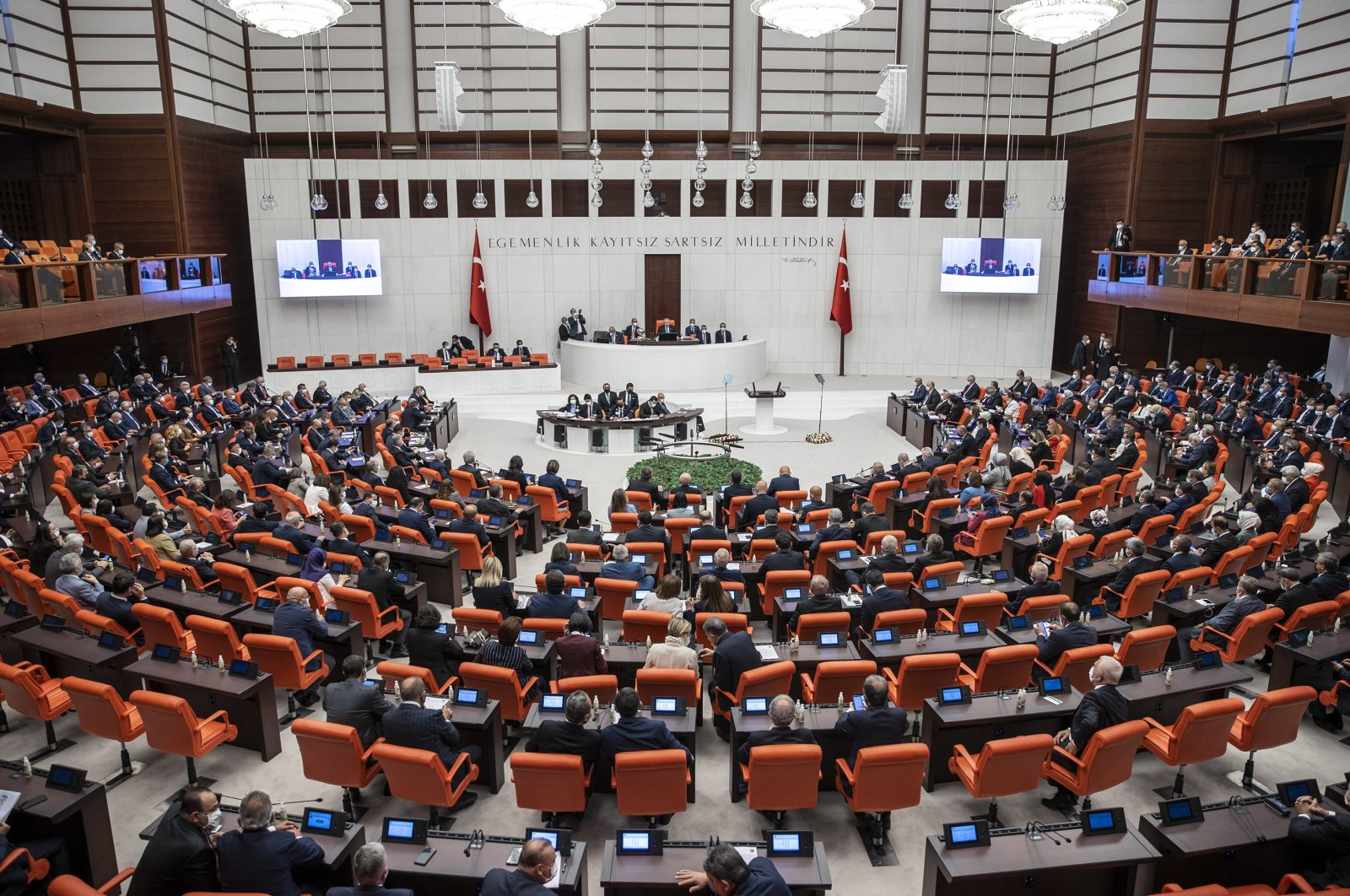 The Turkish Grand National Assembly (TBMM) convenes for the opening ceremony of the fifth legislative year of its 27th term, the capital Ankara, Turkey, Oct. 1, 2021. (AA Photo)