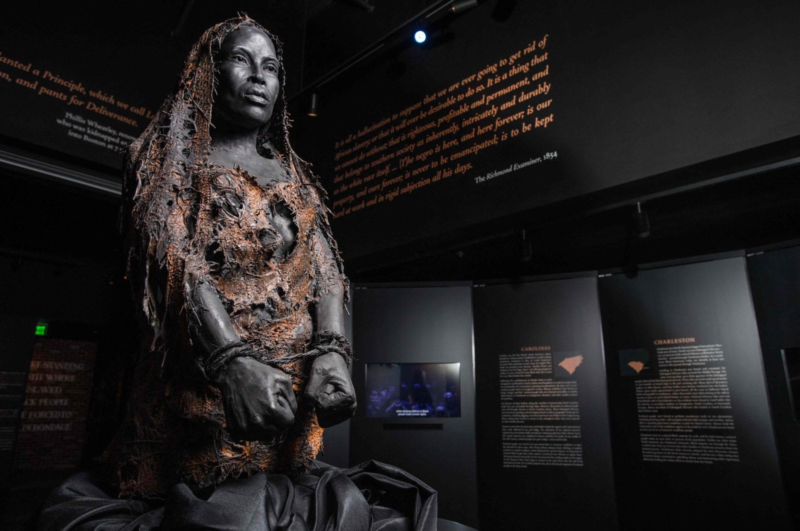 This Sept. 6, 2021, image courtesy of the Equal Justice Initiative, shows an exhibit at the Legacy Museum in Montgomery, Alabama. (Equal Justice Initiative Photo via AFP)