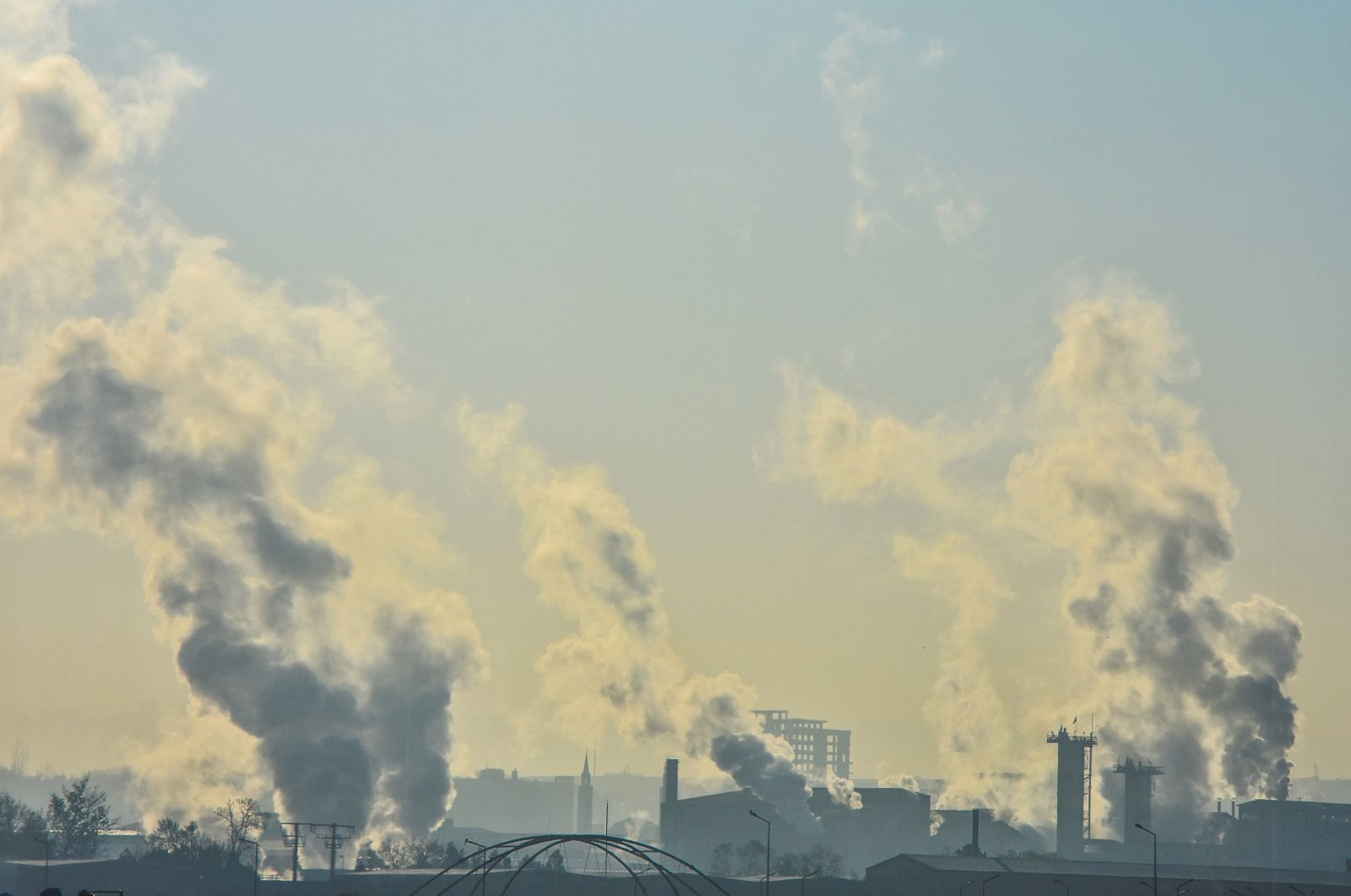 Smoke rises from the chimneys of a factory in Etimesgut district, in the capital Ankara, Nov. 28, 2020. (GETTY IMAGES)