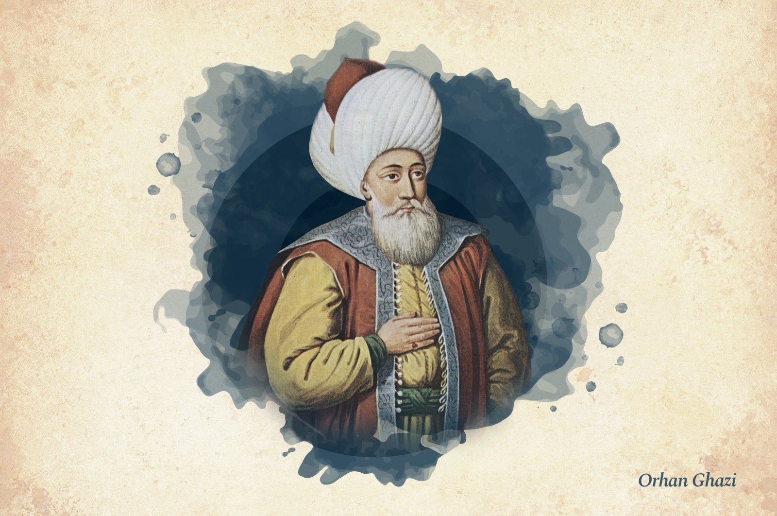 This widely used illustration painted by court painter Konstantin Kapıdağlı in the early 19th century shows Orhan Ghazi, the second ruler of Ottoman beylik that turned into an empire. (Wikimedia / edited by Büşra Öztürk - Daily Sabah)