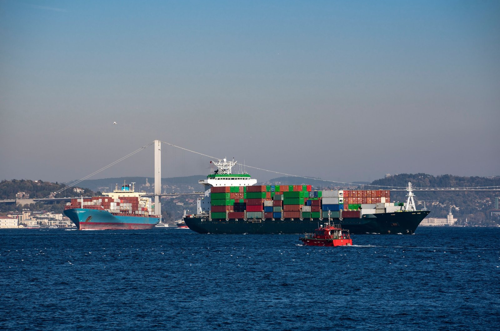 Container ships sail through the Bosporus in Istanbul, Turkey, June 23, 2021. (Shutterstock Photo)