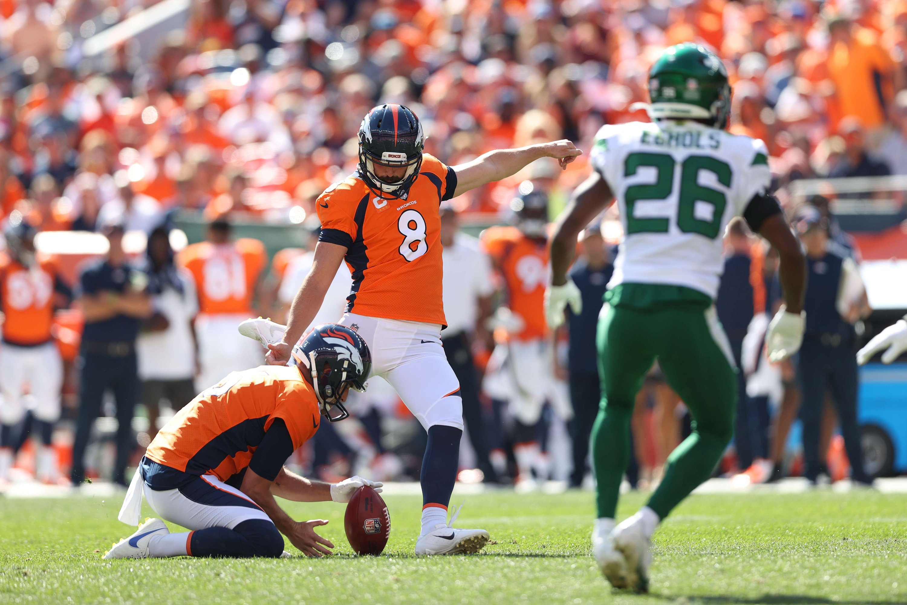 Brandon McManus (8) of the Denver Broncos attempts a field goal against the New York Jets during the game at Empower Field At Mile High, Denver, Colorado, U.S., Sept. 26, 2021. (AFP Photo)
