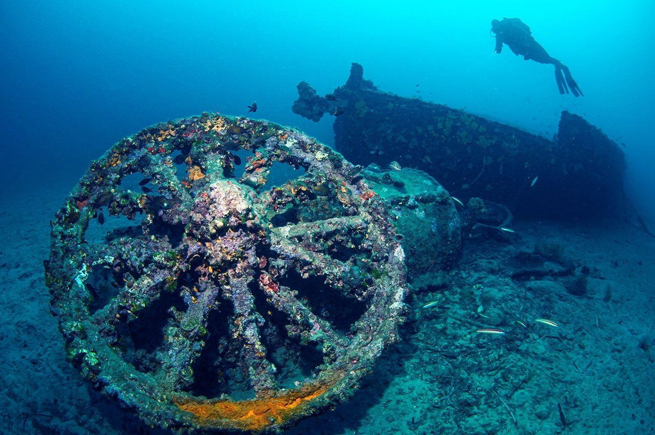 The wreckage of a battleship that was sunk in the World War I Gallipoli campaign is pictured under the water off the coast of Canakkale, Turkey in this undated handout photo. (Directorate of Gallipoli Historic Site Handout via REUTERS)