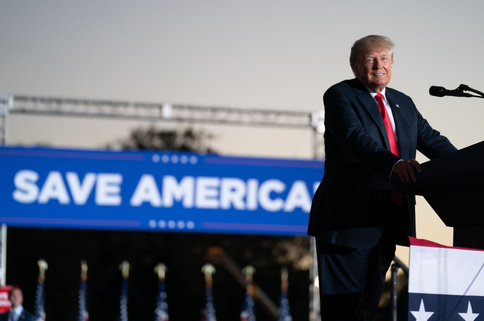 Former U.S. President Donald Trump speaks at a rally in Perry, Georgia,  Sept. 25, 2021. (AFP Photo)