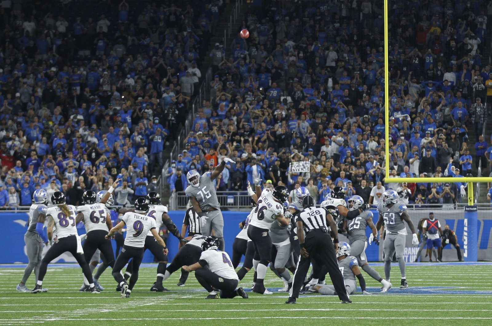Baltimore Ravens kicker Justin Tucker (9) kicks a 66-yard field goal in the second half of an NFL football game against the Detroit Lions in Detroit, Michigan, U.S., Sept. 26, 2021. (AP Photo)