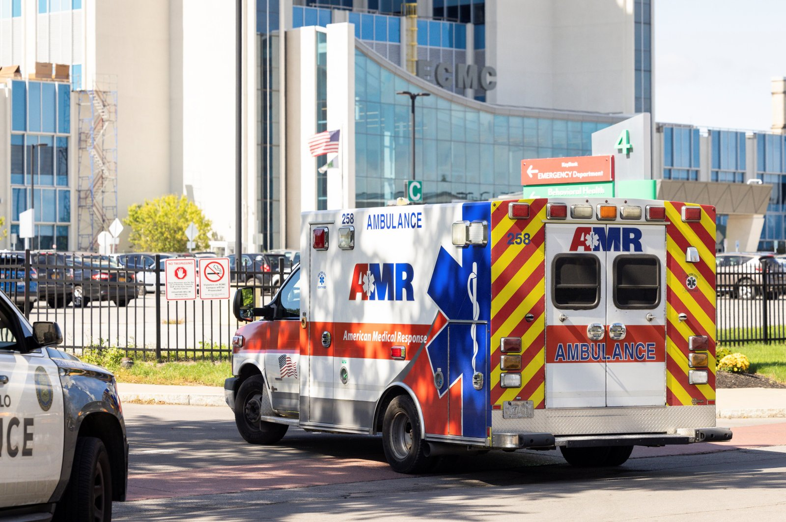 An ambulance is seen outside the Erie County Medical Center (ECMC) Hospital in Buffalo, New York, U.S., Sept. 28, 2021. (Reuters Photo)