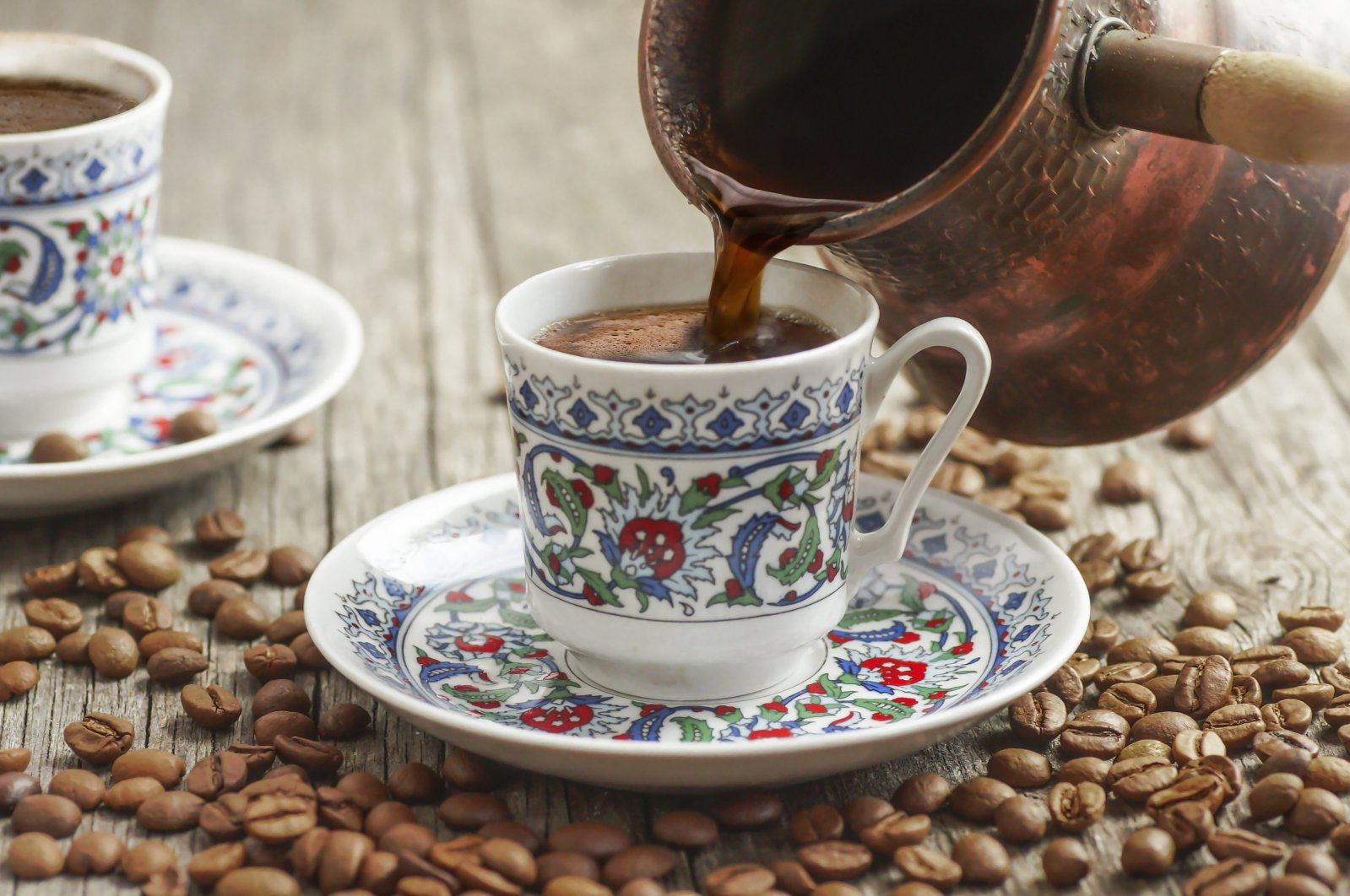 Turkish coffee is poured from a traditional copper pot. (Getty Images)