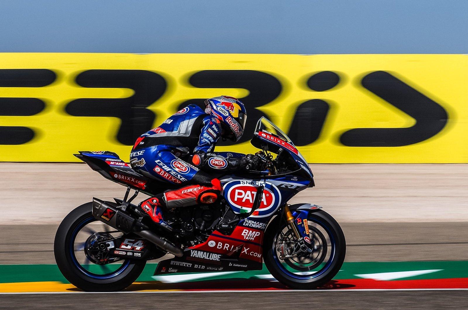 Red Bull's Toprak Razgatlıoğlu races in the 10th round of the Superbike World Championship, Spain, Sept. 26, 2021. (İHA Photo)