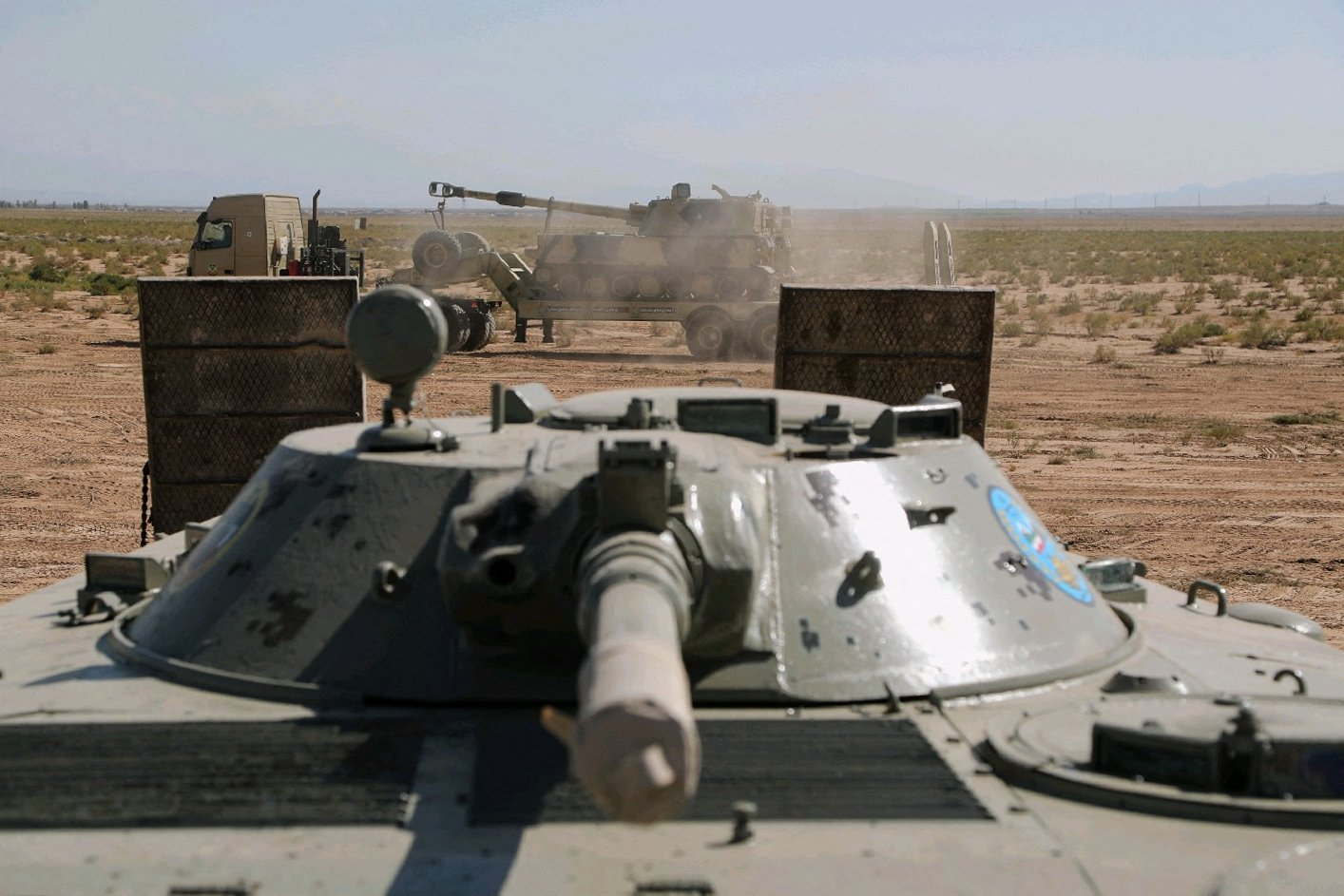 Iranian tanks during a military exercise in the northwest of the country, close to the Iranian-Azerbaijani border, Oct. 1, 2021. (AFP Photo)