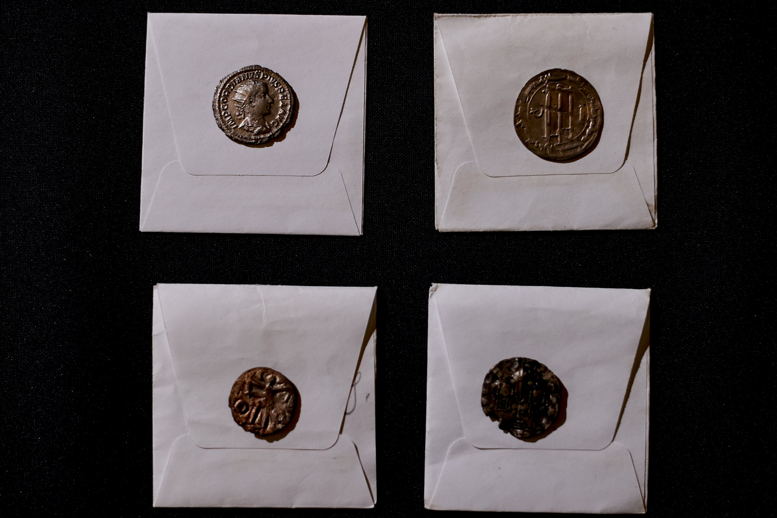 Coins found in the ancient city of Phanagoria, Russia, Oct. 1, 2021. (AA Photo)