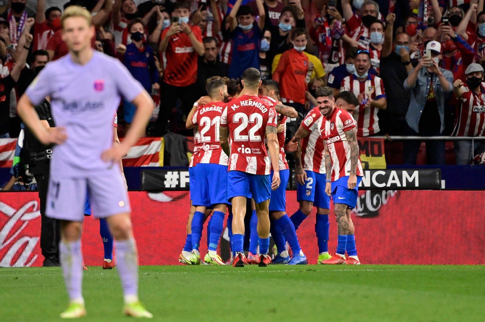 Atletico Madrid players celebrate a goal during a La Liga match against Atletico Madrid at the Wanda Metropolitano stadium, Madrid, Spain, Oct. 2, 2021. (AFP Photo)