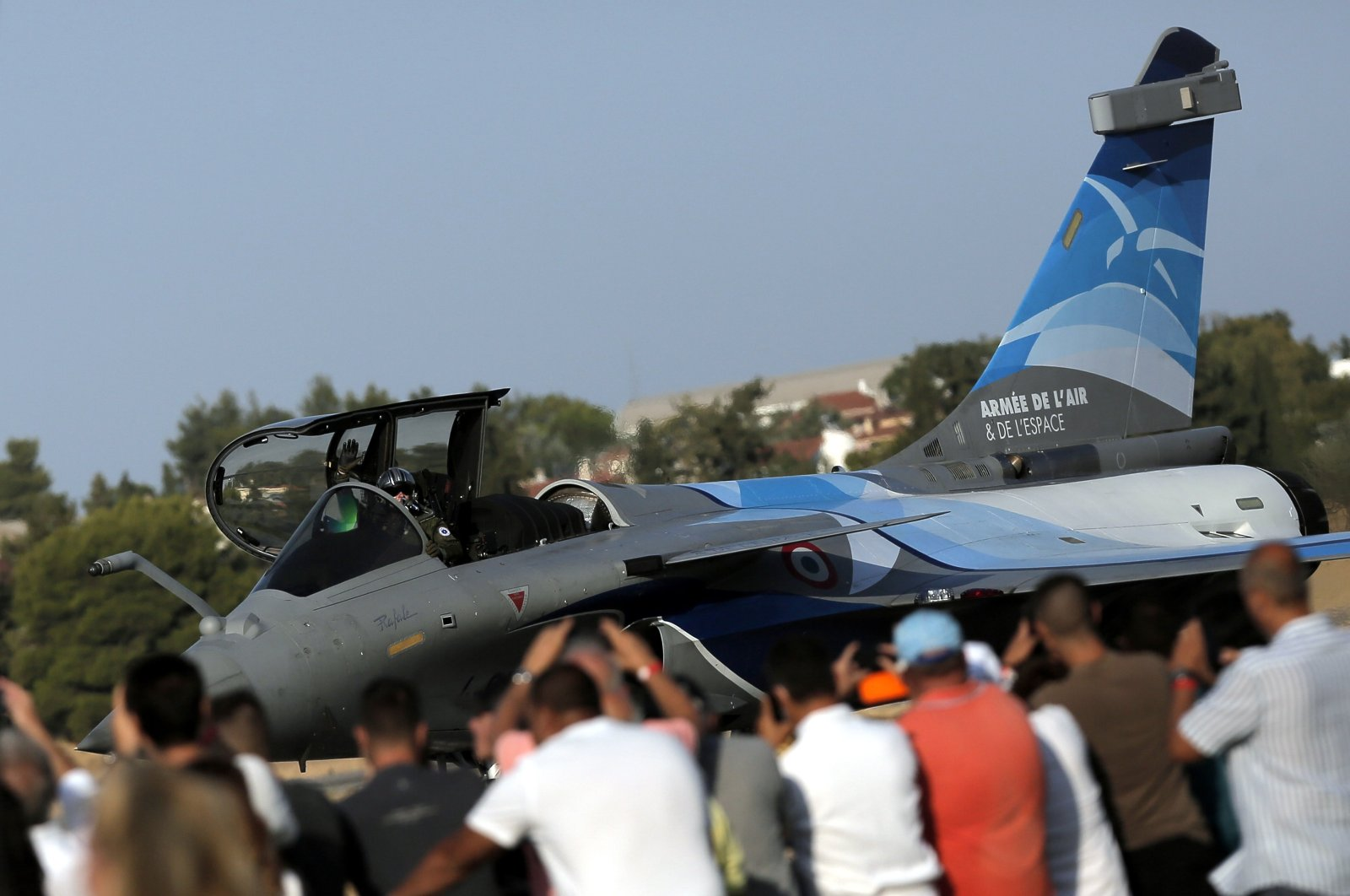 A French Rafale fighter jet in front of spectators during an airshow at Tanagra air base, north of Athens, Greece, Sept. 4, 2021. (EPA Photo)