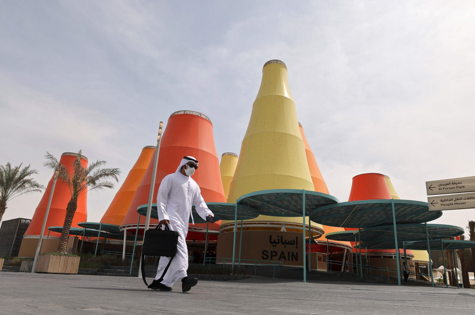 Visitors explore the Spanish pavilion at the Expo 2020, in the Gulf Emirate of Dubai, UAE, Oct. 3, 2021. (AFP Photo)