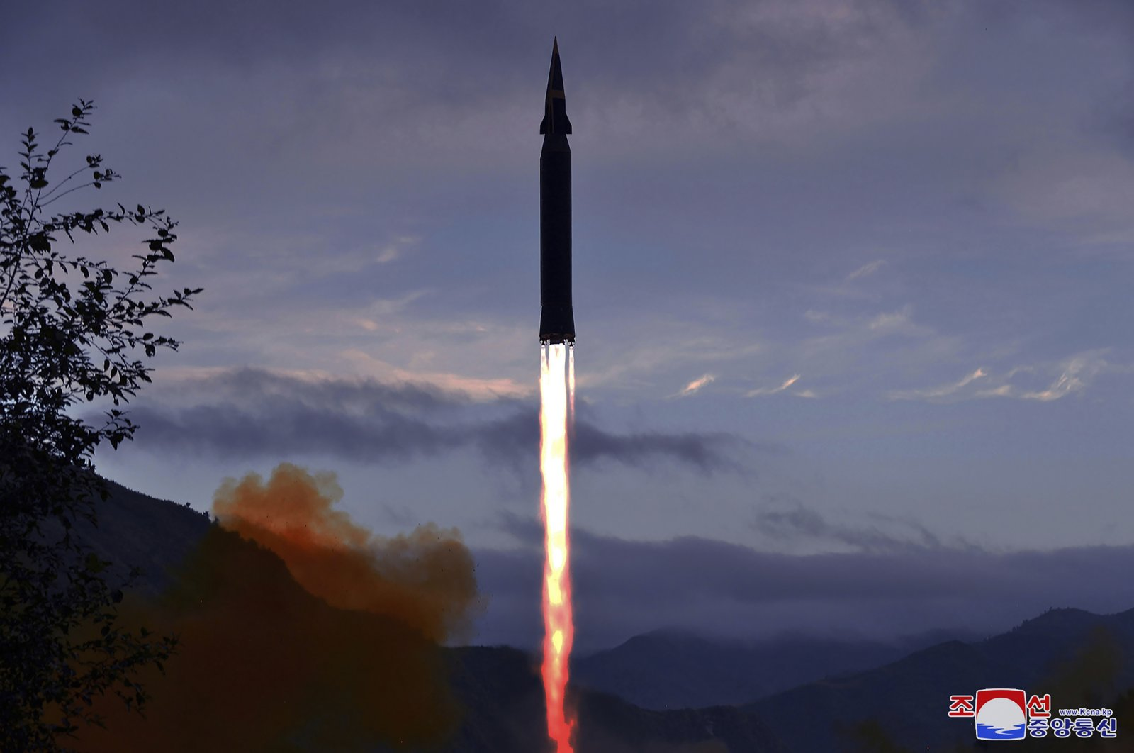 File photo provided by the North Korean government shows what North Korea claims to be a new hypersonic missile launched from Toyang-ri, Ryongrim County, Jagang Province, North Korea, Sept. 28, 2021. (Korean Central News Agency/Korea News Service via AP)