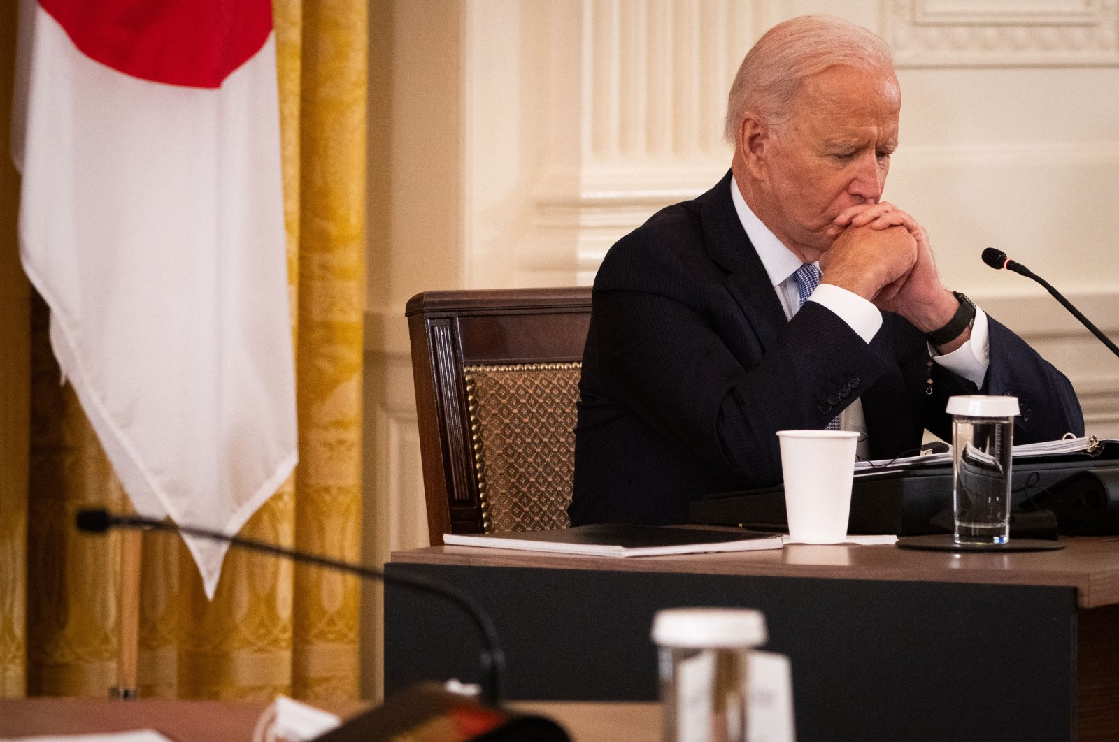 U.S. President Joe Biden pauses during a meeting in the East Room of the White House in Washington, D.C., U.S., Sept. 24, 2021. (Getty Images Photo)