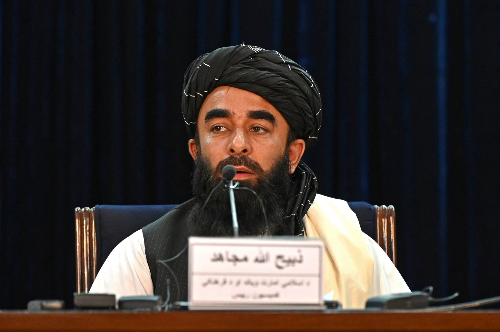 Taliban spokesperson Zabihullah Mujahid speaks during a press conference in Kabul on Sept. 6, 2021. (AFP Photo)