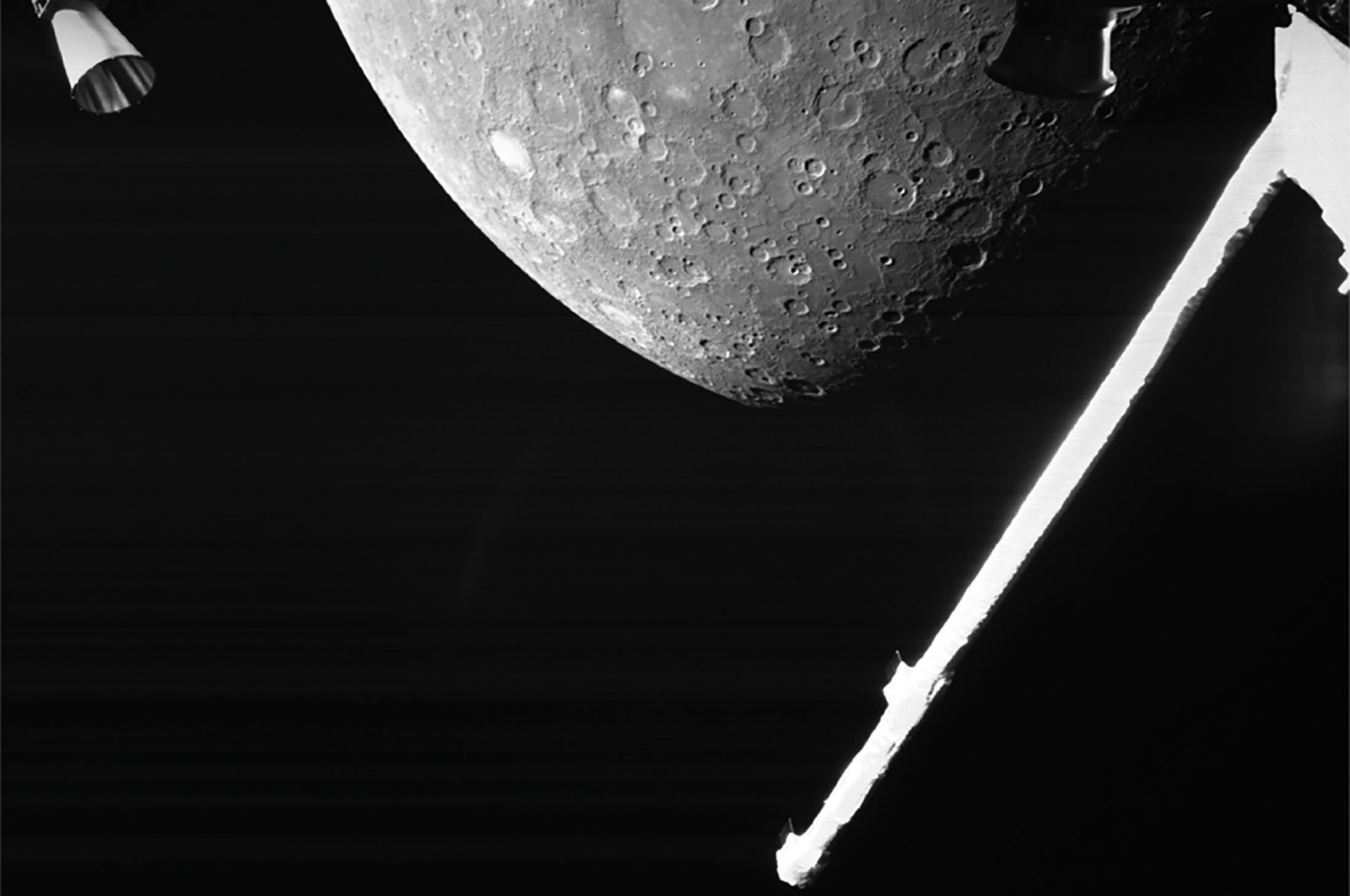 A handout photo by the European Space Agency shows a view of Mercury captured by the joint European-Japanese BepiColombo mission as the spacecraft flew past the planet for a gravity assist manoeuvre, Oct. 1, 2021. (ESA via AP)