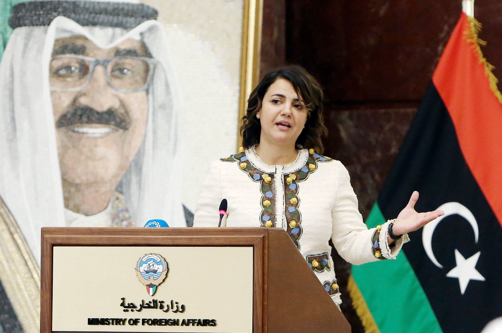 Libyan Foreign Minister Najla Mangoush speaks during a joint news conference with her Kuwaiti counterpart in Kuwait City on Oct. 3, 2021. (AFP Photo)
