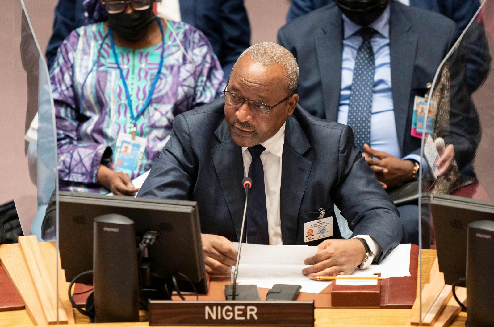 Minister of Foreign Affairs of Niger Hassoumi Massaoudou speaks during a meeting of the 76th U.N. General Assembly in New York, U.S., Sept. 23, 2021. (AFP Photo)