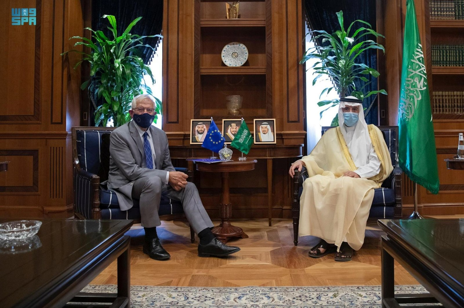 EU foreign policy chief Josep Borrell (L) meets with Saudi Arabia's Minister of State for Foreign Affairs Adel al-Jubeir in Riyadh, Saudi Arabia, Oct. 3, 2021. (Reuters Photo)