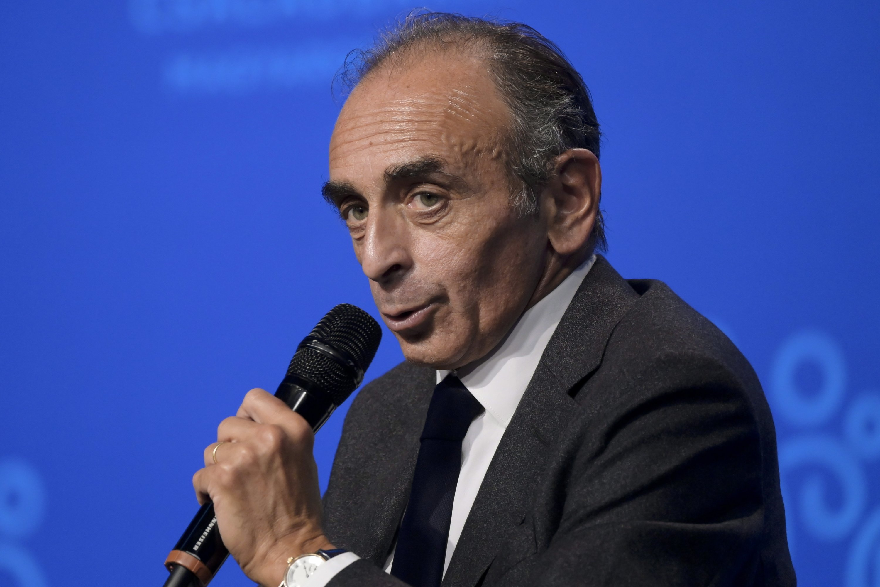 French far-right polemicist, essayist, political journalist and writer Eric Zemmour delivers his speech during the 4th Budapest Demographic Summit in Budapest, Hungary, Sept. 24, 2021. (EPA Photo)