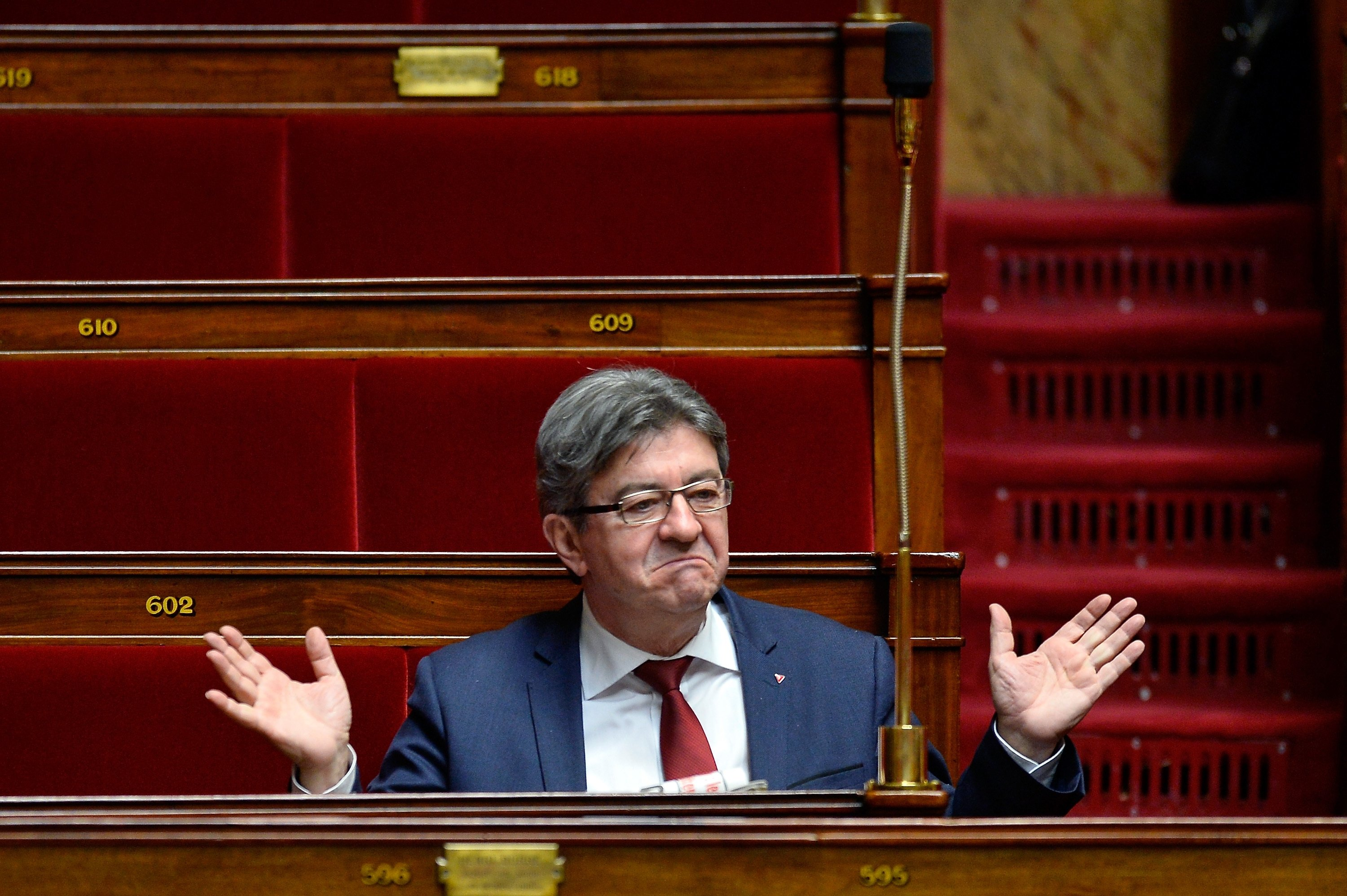 Leader of 'La France Insoumise' Jean Luc Melenchon reacts as ministers answer deputies' questions during the weekly session of questions to the government at Assemblee Nationale in Paris, France, Jan. 31, 2018. (Getty Images Photo)