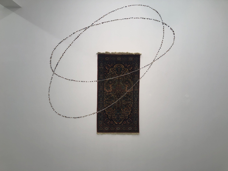 A rug installation by Şakir Gökçebağ in 'Redimeyd' at Ferda Art Platform in Istanbul, Turkey. (Courtesy of Şakir Gökçebağ)