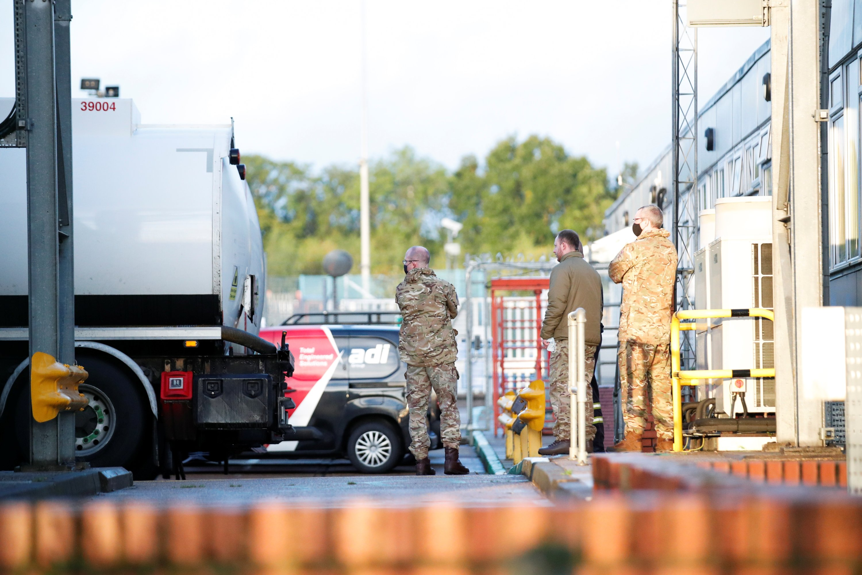 Members of the military look on at Buncefield Oil Depot in Hemel Hempstead, Britain, Oct. 4, 2021. (Reuters Photo)