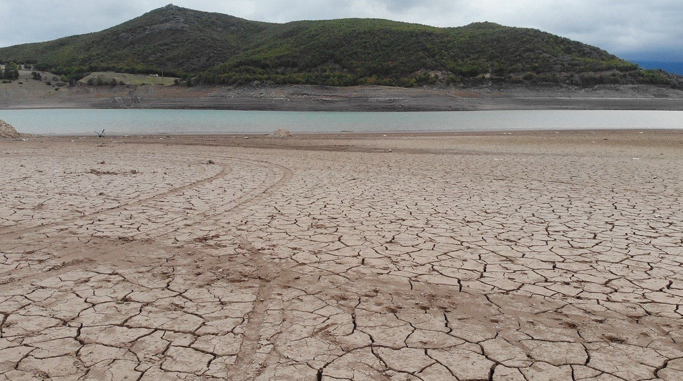 A view of parched land after the water receded in a dam in Almus district, in Tokat, northern Turkey, Sept. 30, 2021. (İHA PHOTO)