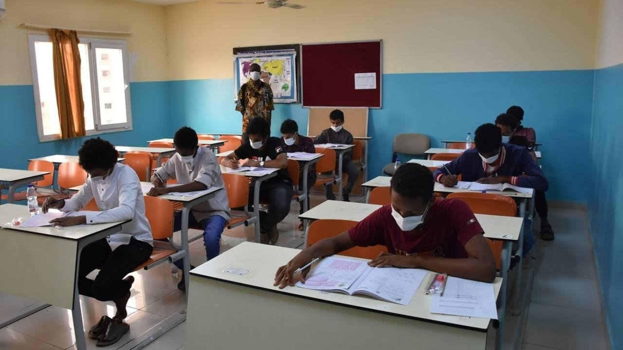 Students sit an exam for admission to Turkish universities at a Maarif school in Khartoum, Sudan, July 16, 2021. (Photo by Maarif Foundation)