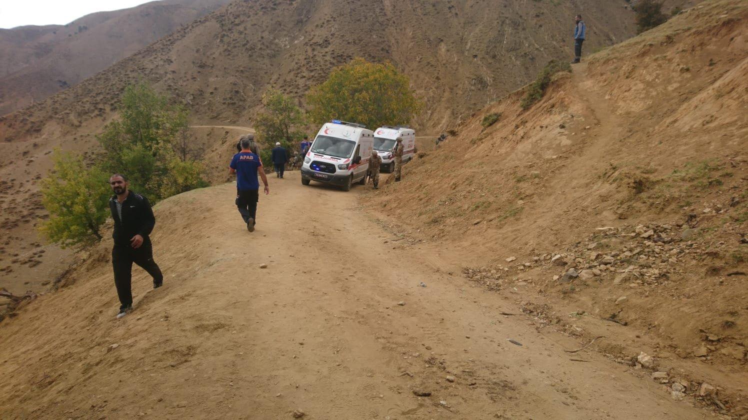The area where the PKK terrorist attack took place in Bingöl, Turkey, Oct. 2, 2021. (DHA Photo)