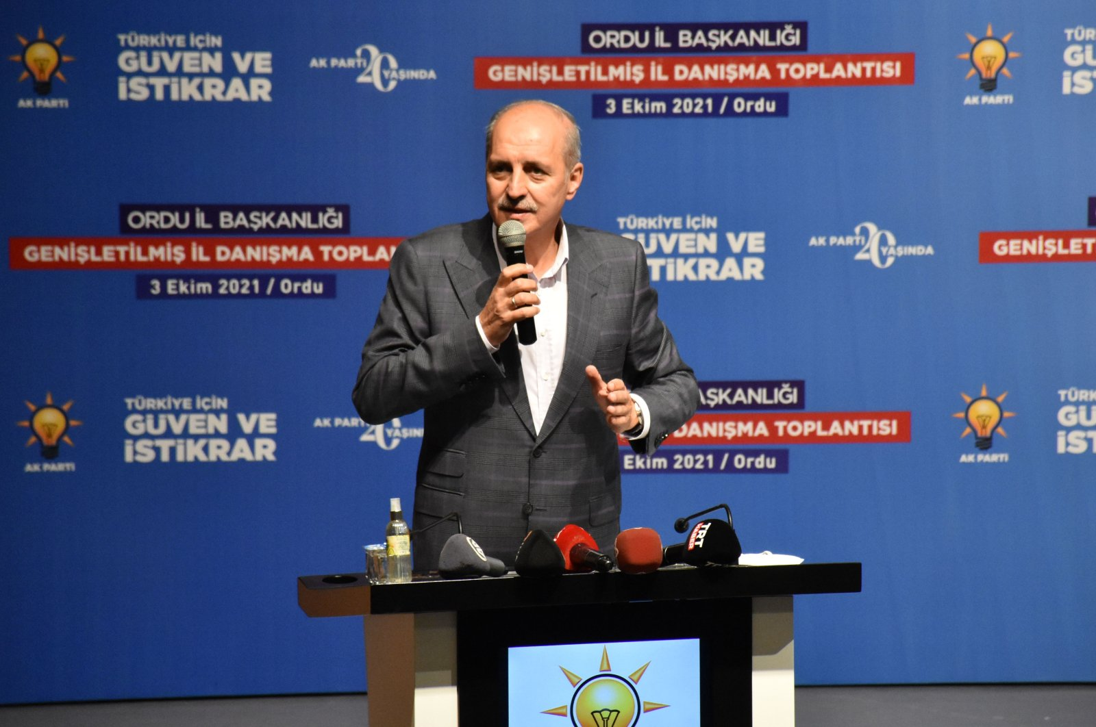 Numan Kurtulmuş, the ruling Justice and Development Party's (AK Party) deputy chair, speaks at a meeting in Ordu, northern Turkey, Oct. 3, 2021. (AA Photo)