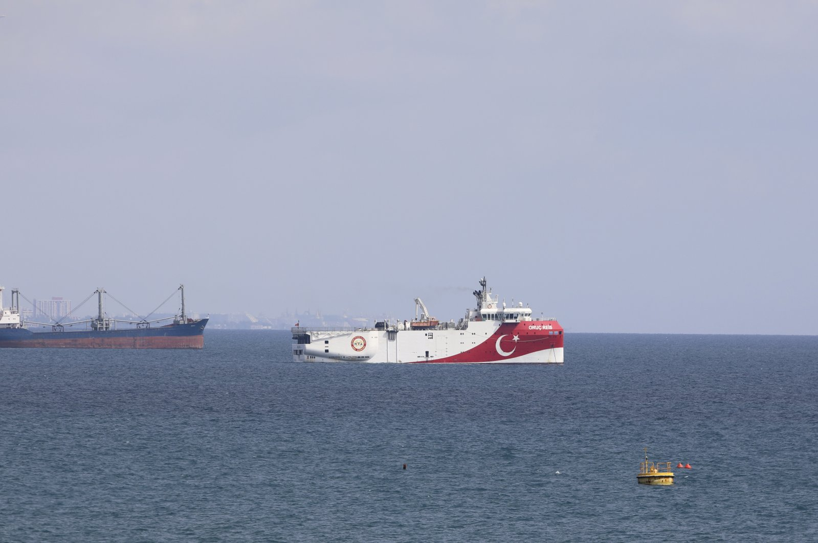 A view of Turkey's research vessel, Oruç Reis anchored off the coast of Antalya on the Mediterranean, Turkey, Sept. 27, 2020. (AP File Photo)