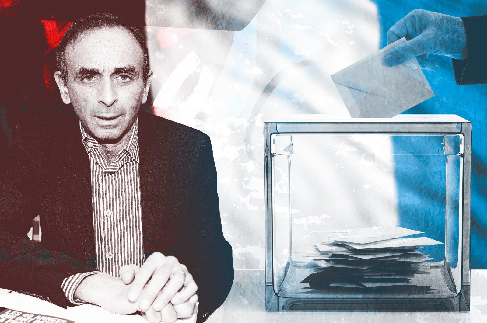 A photo illustration by Daily Sabah's Büşra Öztürk shows French politician Eric Zemmour. (Büşra Öztürk)