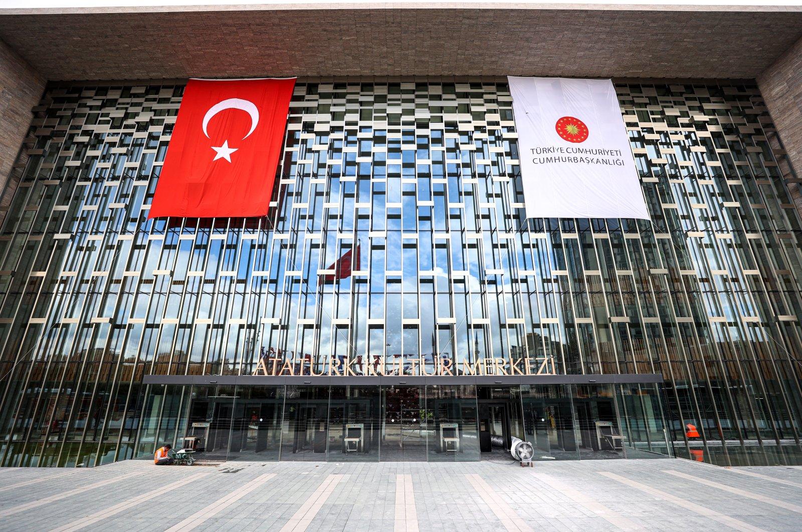 The entrance of theAtatürk Cultural Center (AKM) in Taksim, Istanbul, Turkey, Oct. 1, 2021. (AA Photo)