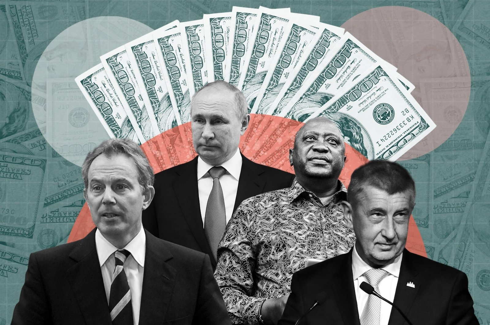 """The picture shows former U.K. Prime Minister Tony Blair (L), Russian President Vladimir Putin (2nd L), Kenya's President Uhuru Kenyatta (C) and Czech Prime Minister Andrej Babis (R), who are of 330 current and former politicians identified as beneficiaries of the secret accounts in recently published data leak dubbed the """"Pandora Papers."""" (Daily Sabah Photo)"""