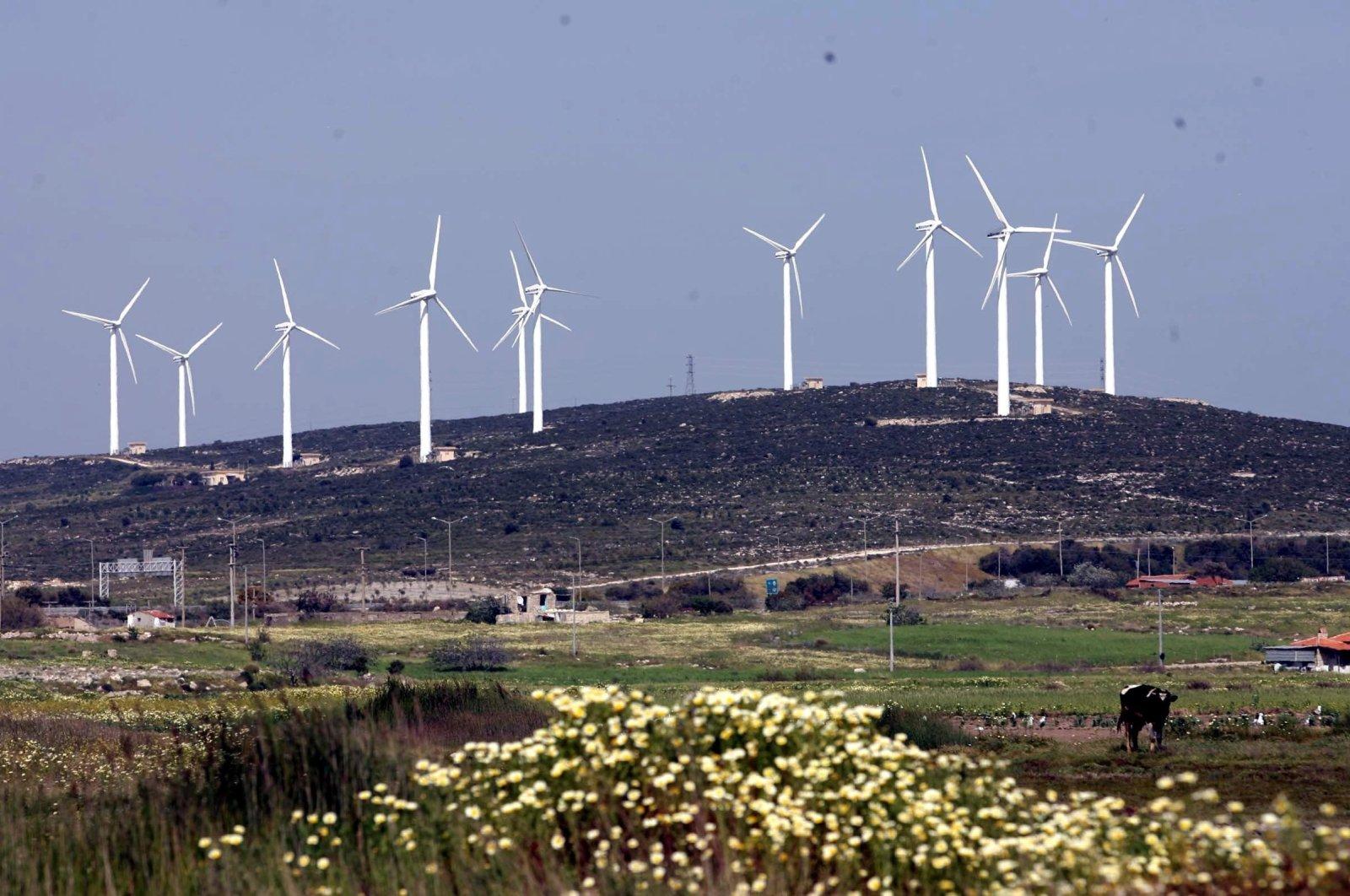 Wind turbines are seen in the Karaburun district of Turkey's Aegean province of Izmir, Feb. 13, 2019. (DHA Photo)