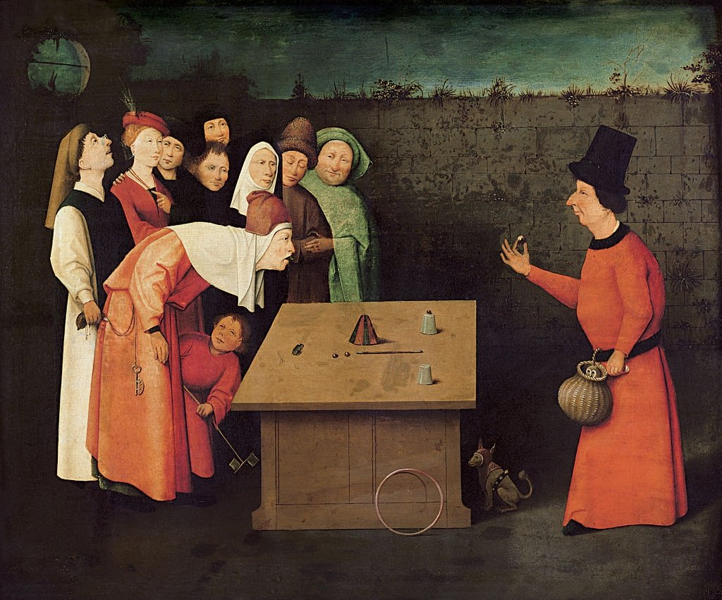 'The Conjurer' by  Early Netherlandish painter Hieronymus Bosch, oil on wood, 53 cm by 65 cm. (Wikimedia Photo)