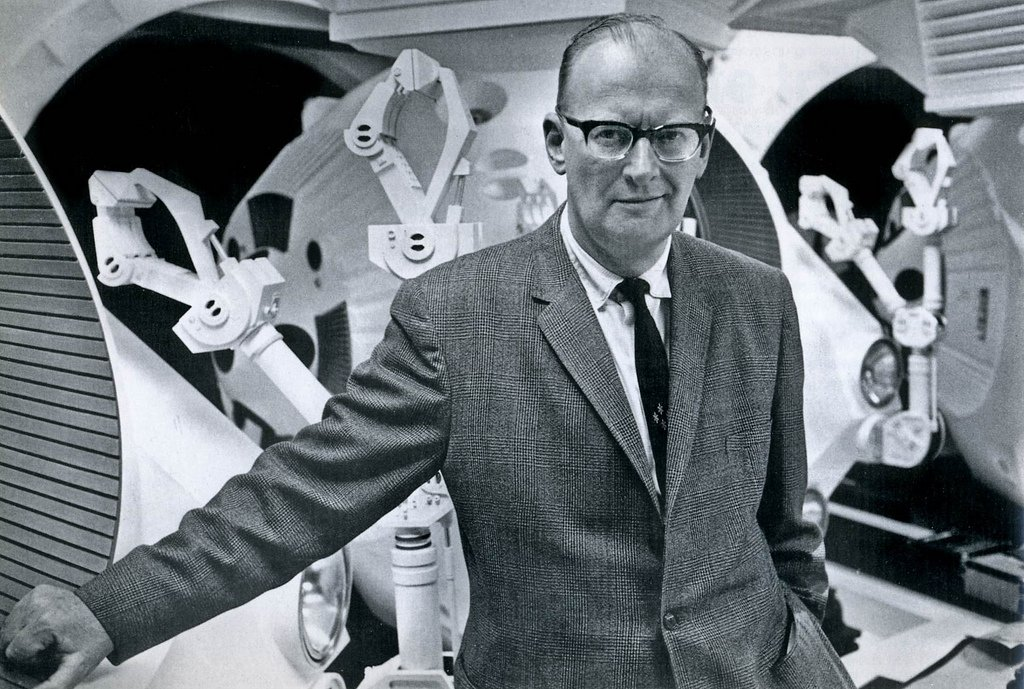 Arthur C. Clarke poses on one of the sets of '2001: A Space Odyssey' in February 1965. (Wikimedia Photo)