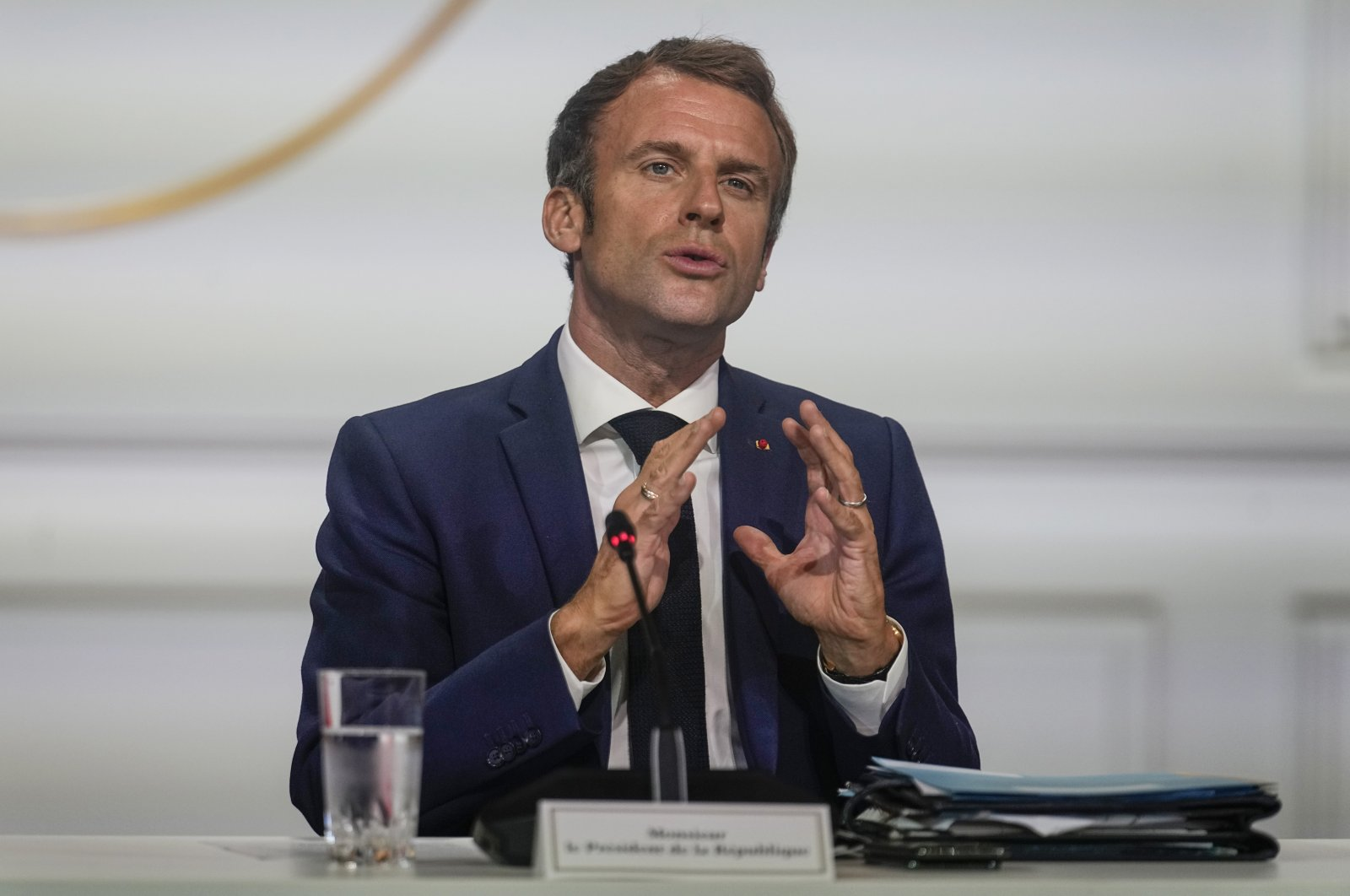 French President Emmanuel Macron gestures as he speaks during the One Planet Summit at the Elysee Palace in Paris, France, Oct. 4, 2021. (AP Photo)