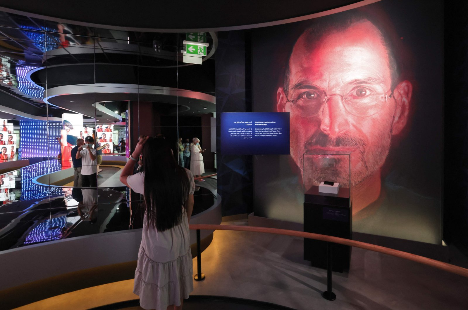 An image of Apple founder and late CEO Steve Jobs is displayed in the interior of the U.S. pavilion at the Dubai Expo 2020, United Arab Emirates, Oct. 1, 2021. (AFP Photo)