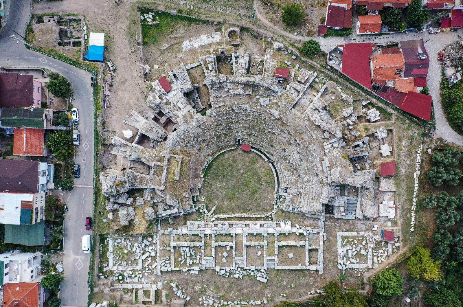 An aerial view of the ancient Roman theater, Iznik, Bursa, northwestern Turkey, Oct. 4, 2021. (AA Photo)