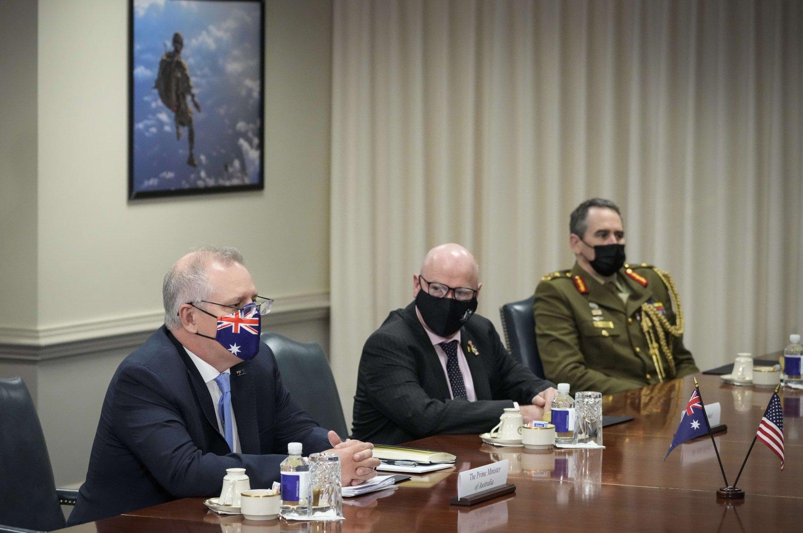 Prime Minister of Australia Scott Morrison (L) speaks during a meeting with U.S. Secretary of Defense Lloyd Austin at the Pentagon in Arlington, Virginia, U.S., Sept. 22, 2021 (Getty Images Photo)